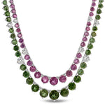 Natural Color Change Garnet 20.40 Carats Set in 18K White Gold and Diamond Necklace