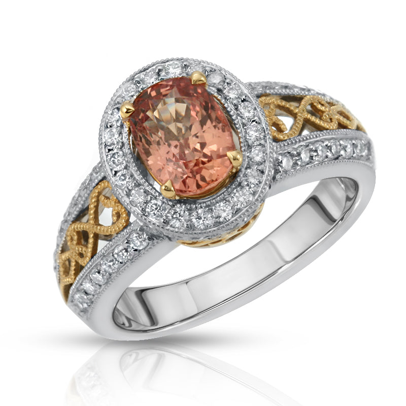Natural Padparadscha Sapphire 1.51 carats Set in 18K White and Yellow Gold Ring with Diamonds