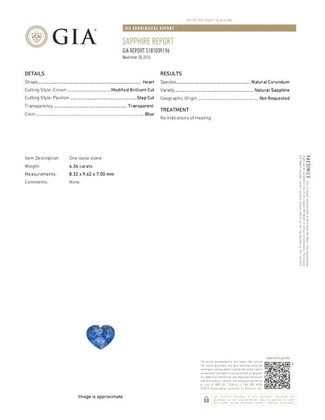 True Blue. Heart Shape Blue Sapphire 4.34ct With GIA Report (Unheated)