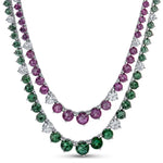 Natural Color Change Garnet 14.44 Carats Set in 18K White Gold and Diamond Necklace