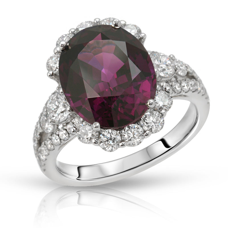 Natural Purple Garnet 7.32 Carats Set in 18K White Gold Ring with Diamonds