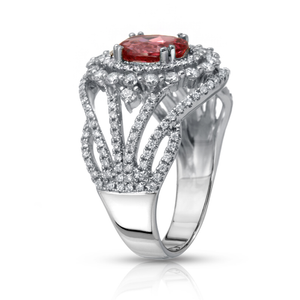 Mahenge Orange Pink Spinel and Diamond Ring