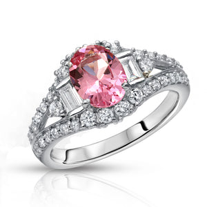 Natural Neon Tanzanian Mahenge Spinel 1.47 carats set in 14K White Gold Ring with Diamonds