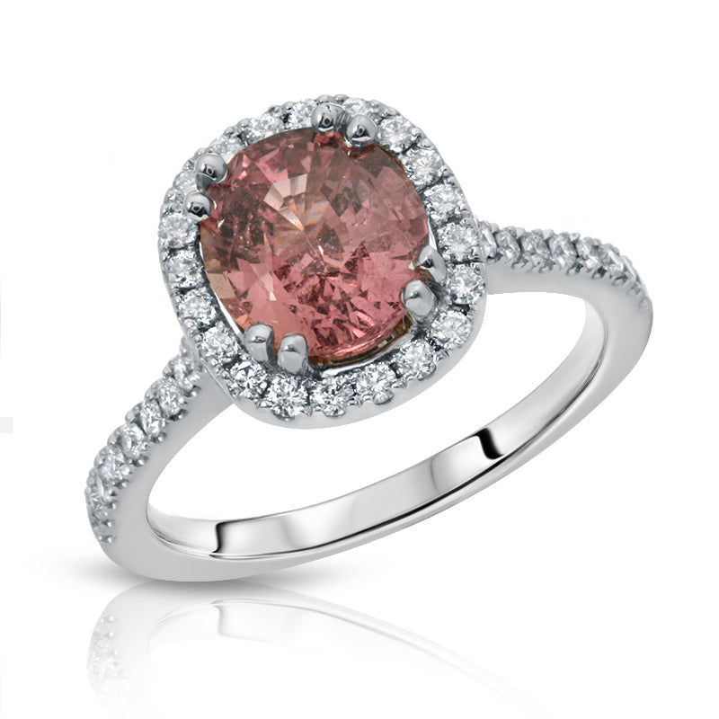 Natural Unheated Srilanka Padparadscha Sapphire 2.12 Carats set in 18K White Gold Ring with Diamonds GRS Report