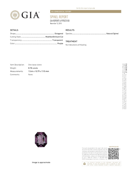Purple Reign. Purple Spinel 8.78ct With GIA Report (Unheated)