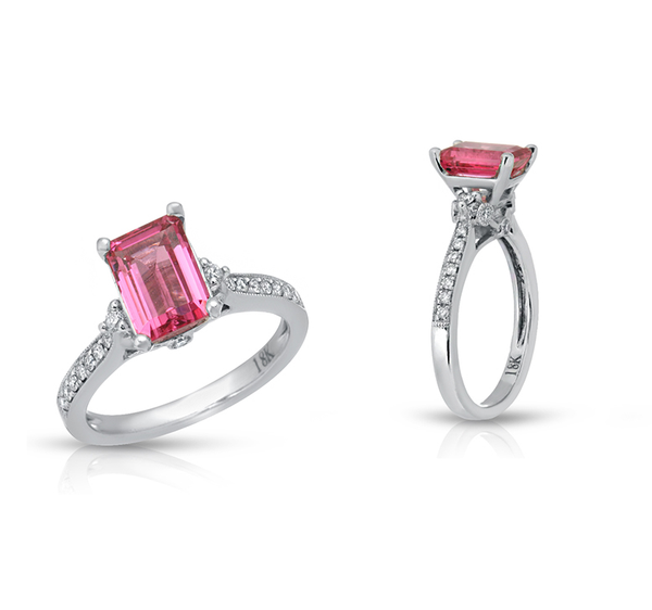 Natural Neon Mahenge Tanzanian Spinel 1.75 Carats Set in 18K White Gold Ring with Diamonds