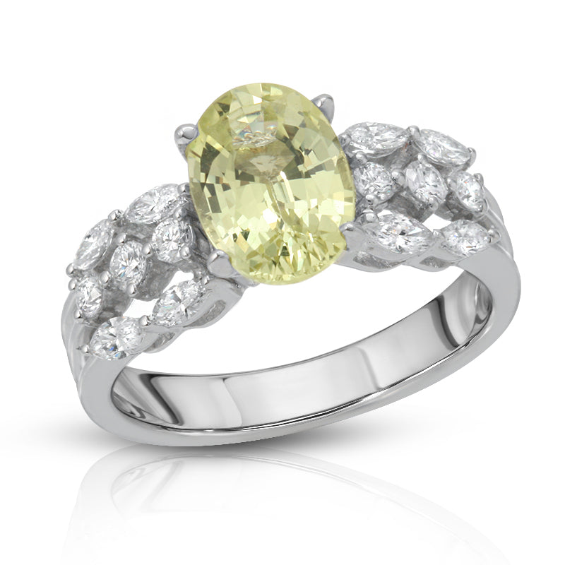 Natural Chrysoberyl 2.05 Carats Set in 18K White Gold Ring With Diamonds