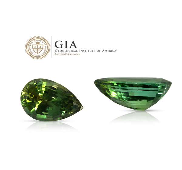 Natural Unheated Green Zoisite Pear Shape 6.96 Carats With GIA Report