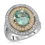Natural Paraiba Tourmaline 2.89 Carats Set in 14K White Gold and Yellow Gold Ring With Diamonds GIA Report