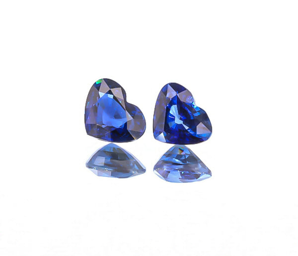 Natural Blue Sapphire Pair Heart Shape 4.03 Total Carat Weight With GIA Report
