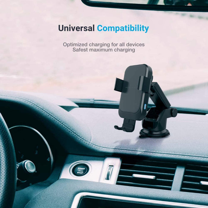 Powerology Fast Wireless Charger Car Mount and QC3.0 - Black