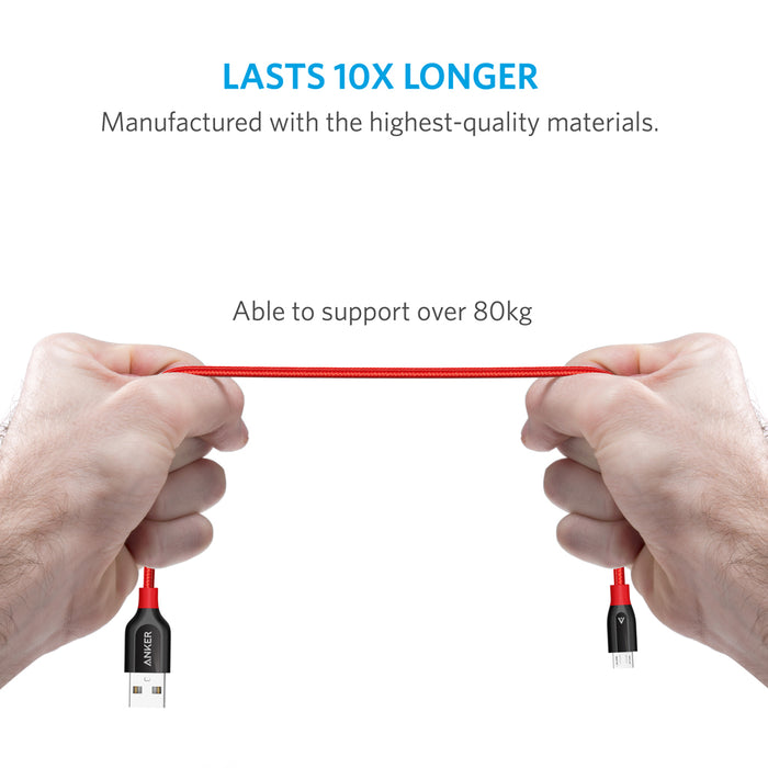 Anker Powerline+ Micro USB 1ft UN Red