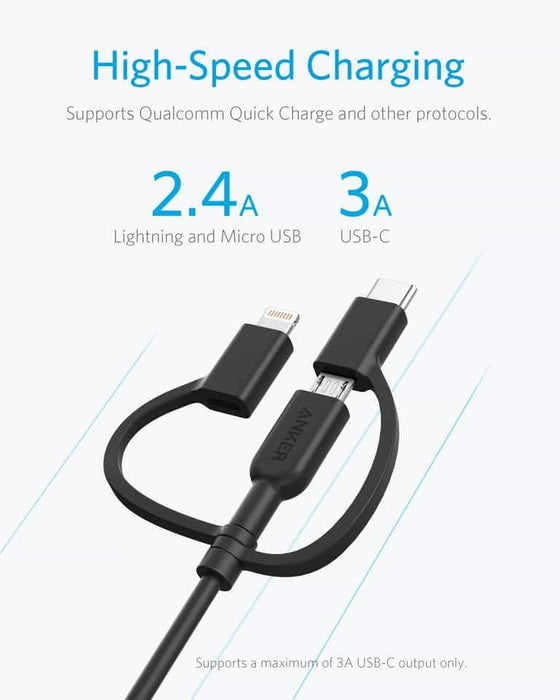 Anker powerline II USB-A to 3 in 1 charging cable Black 1