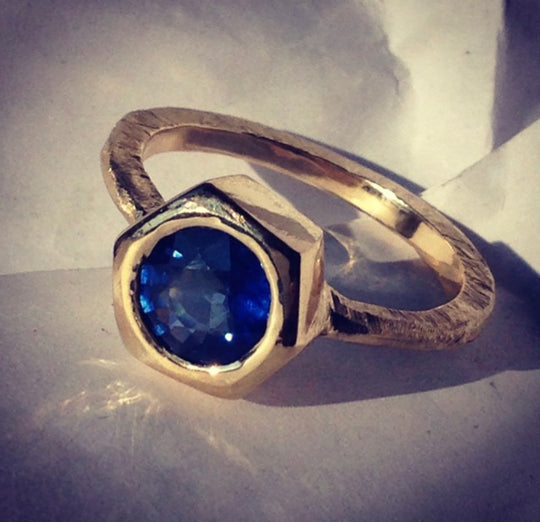 Gold & Blue Sapphire Ring Redesign from a Precious Family Heirloom