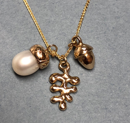 Pearl, Gold, Acorn Charm & Champagne Diamond Necklace ~
