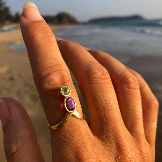 The healing queen pink sapphire and chrysoberyl ring