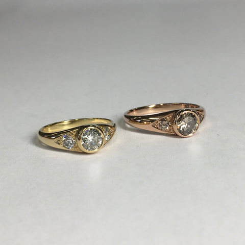 The finished engagement rings