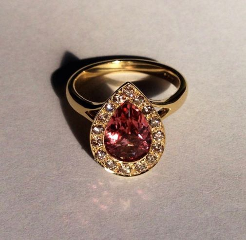Gold, Dusty Pink Tourmaline & Champagne Diamond Engagement Ring