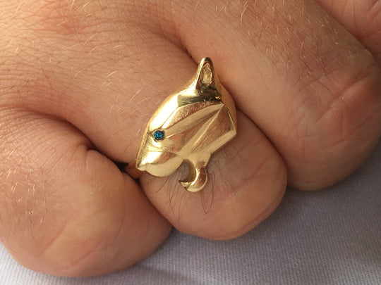 Panther Head Engagement Ring