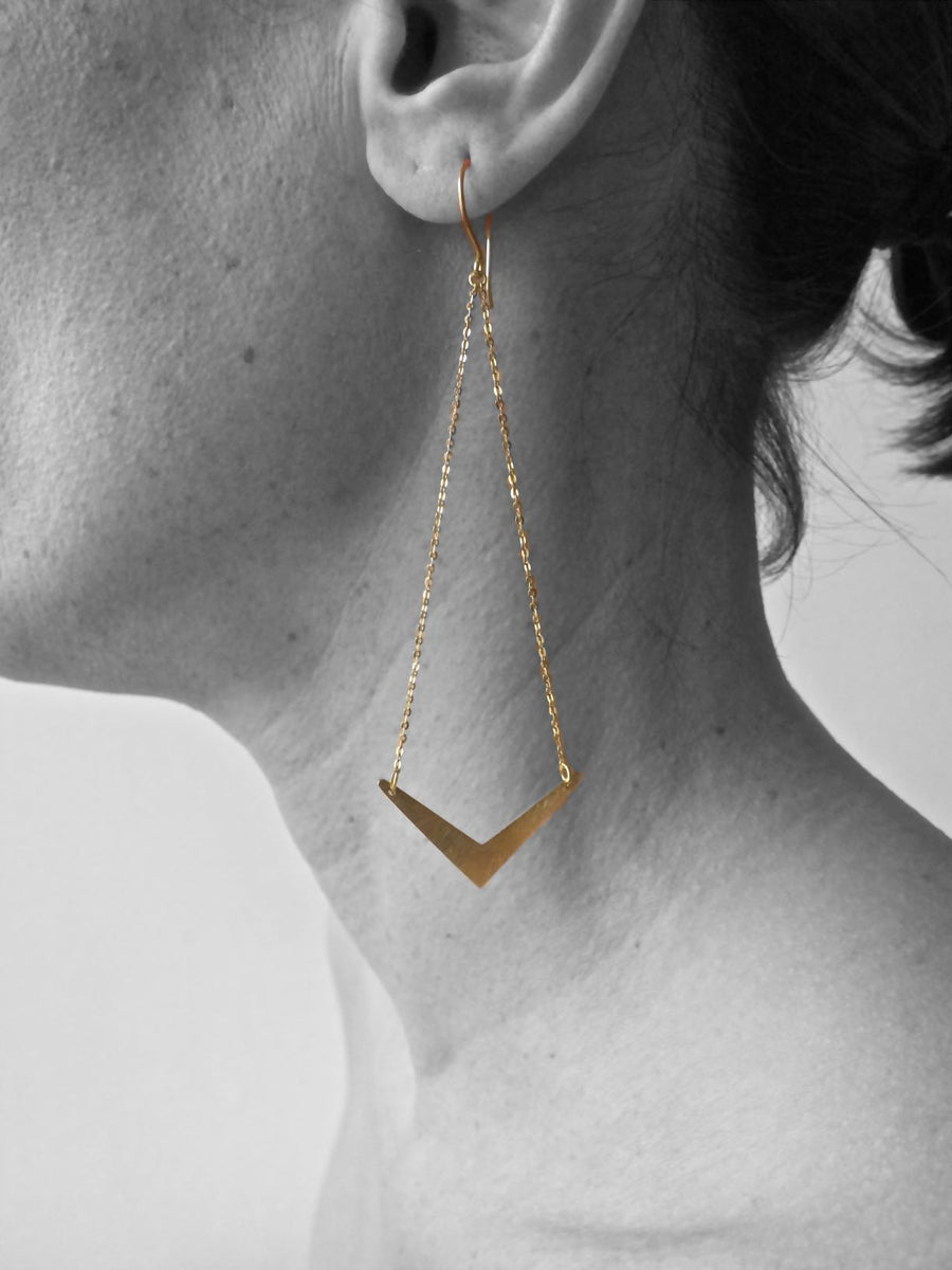 Silver & Gold Warrior Chain and Arrow Earrings