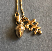 Solid Gold Acorn & Leaf Charm Necklace Necklace 20 Inch Chain Rosie Odette Jewellery