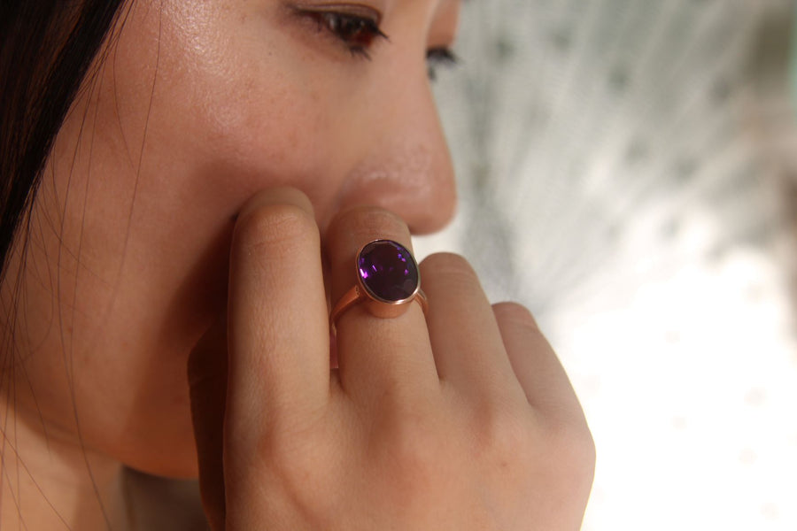 The Amethyst Queen Rose Gold Cocktail Ring Ring Rosie Odette Jewellery