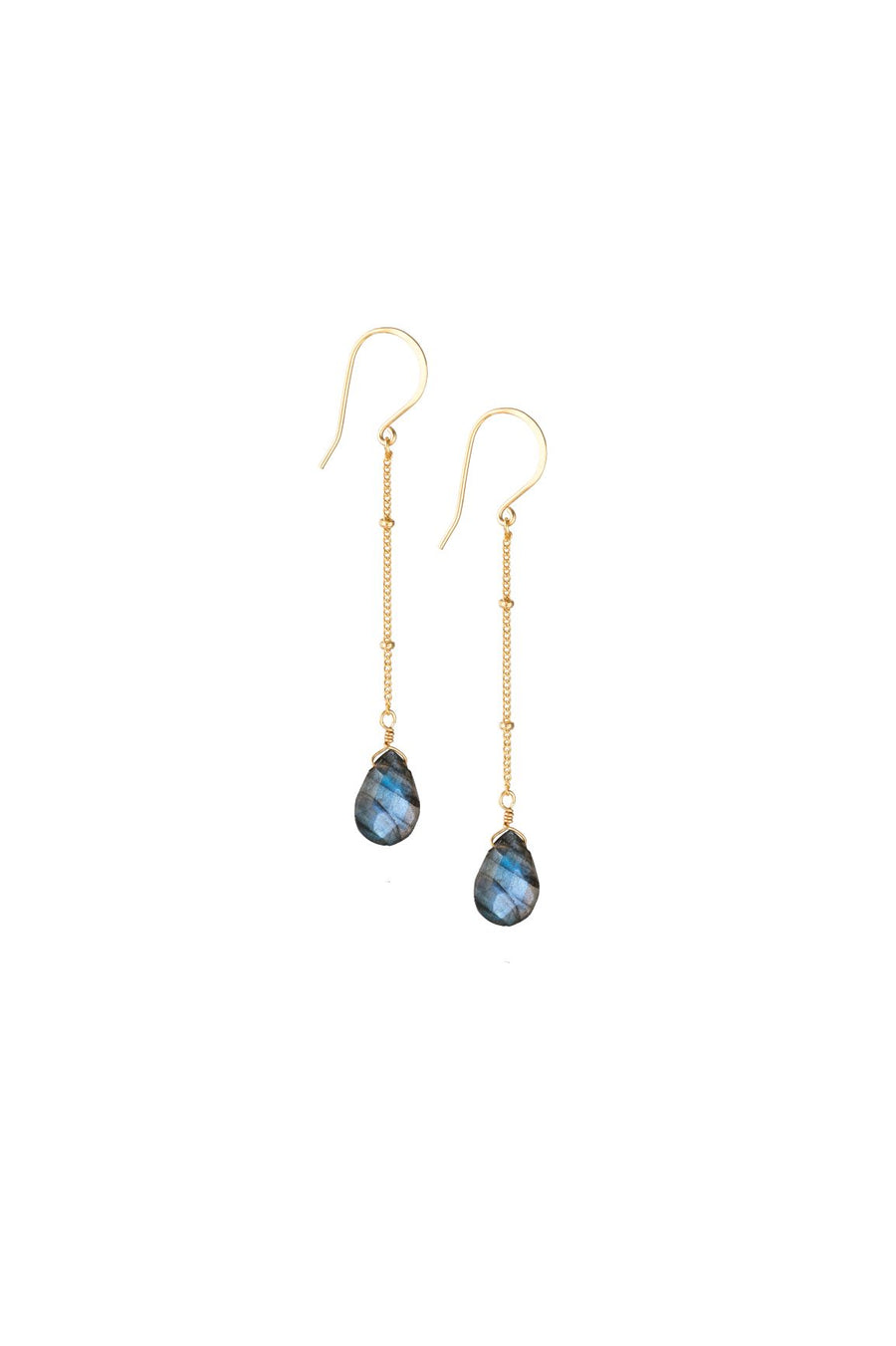 Labradorite Long Drop Earrings