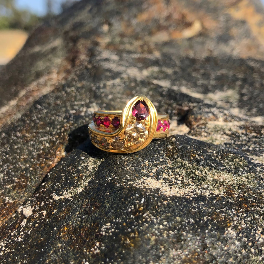 Queen Cobra Champagne Diamond, Ruby & Pink Tourmaline Gold Snake Ring