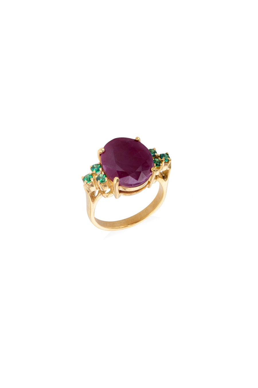 The Odette Gold Ruby & Emerald Cocktail Ring Ring Rosie Odette Jewellery