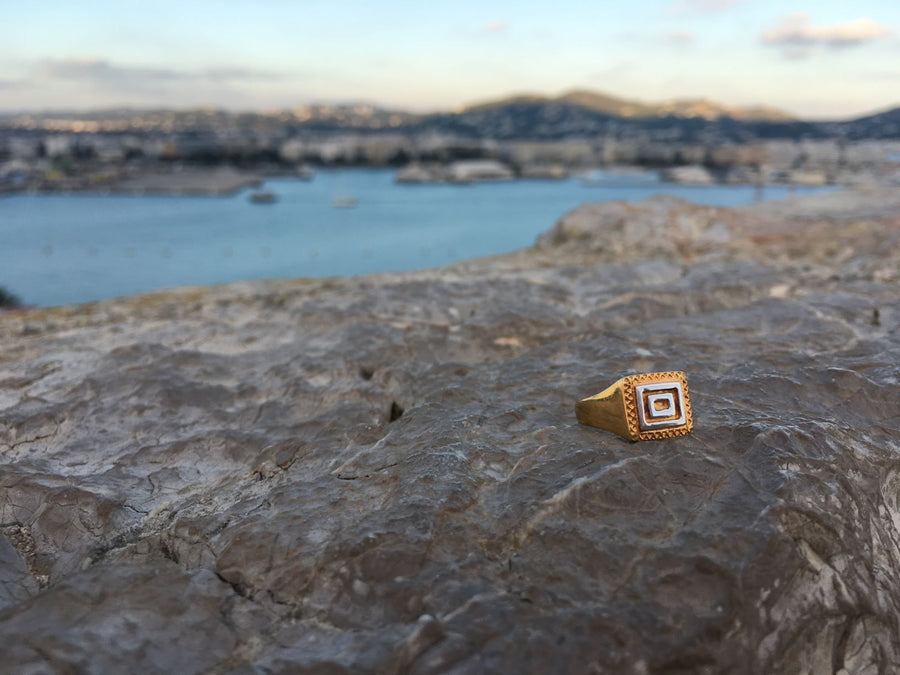 Warrior Greek Signet Ring Ring Size M Rosie Odette Jewellery