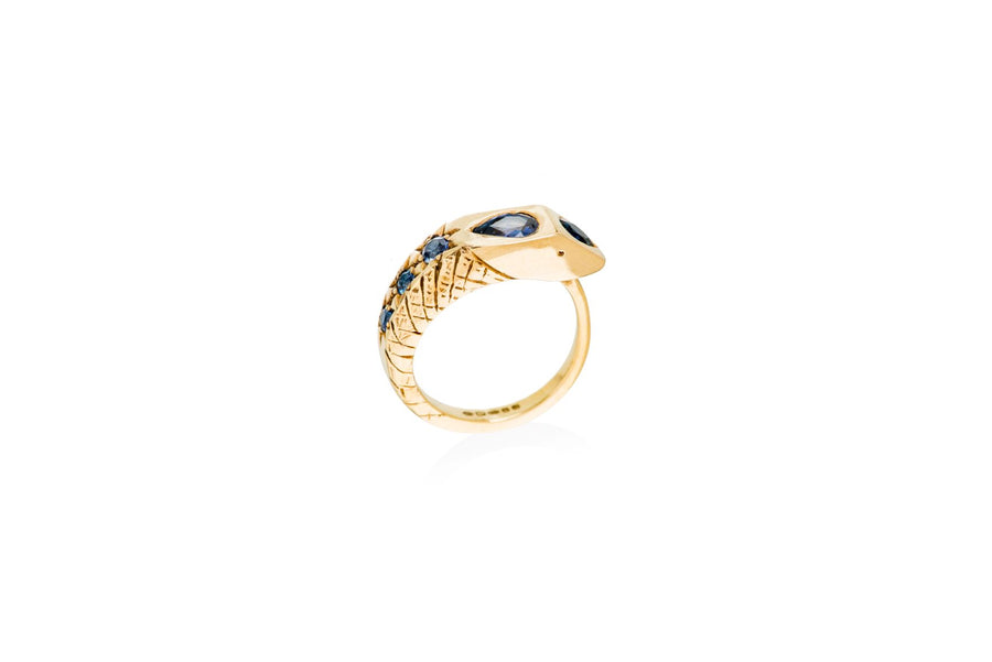 Gold & Blue Sapphire Egyptian Princess Snake Ring Ring Rosie Odette Jewellery