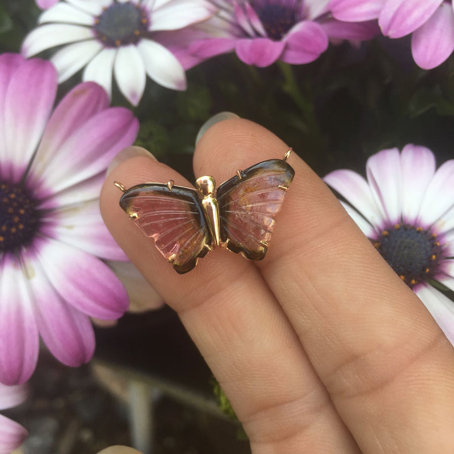 Limited Edition Bi-Colour Tourmaline Butterfly Gold Pendant