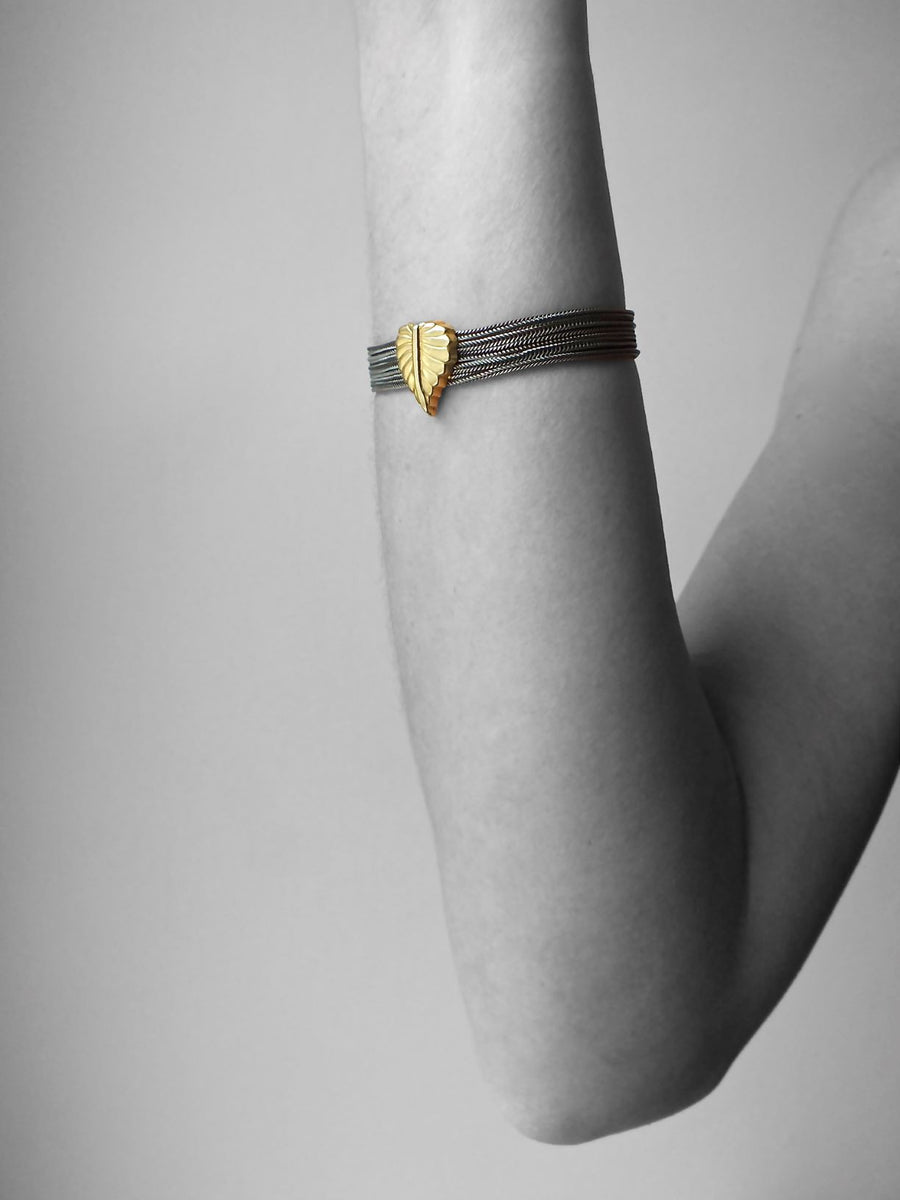 Silver & Gold Warrier Gold Leaf Bracelet Bracelet Rosie Odette Jewellery
