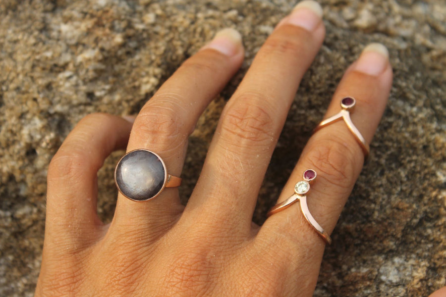 Rose Gold King of Crowns Grey Star Sapphire Ring Ring Rosie Odette Jewellery