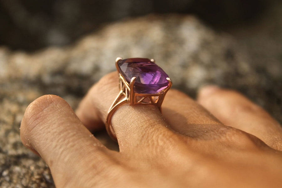 Rose Gold Ametrine Queen Cocktail Ring Ring Rosie Odette Jewellery