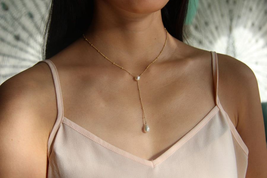 Silver & Gold Triple Pearl Drop Necklace