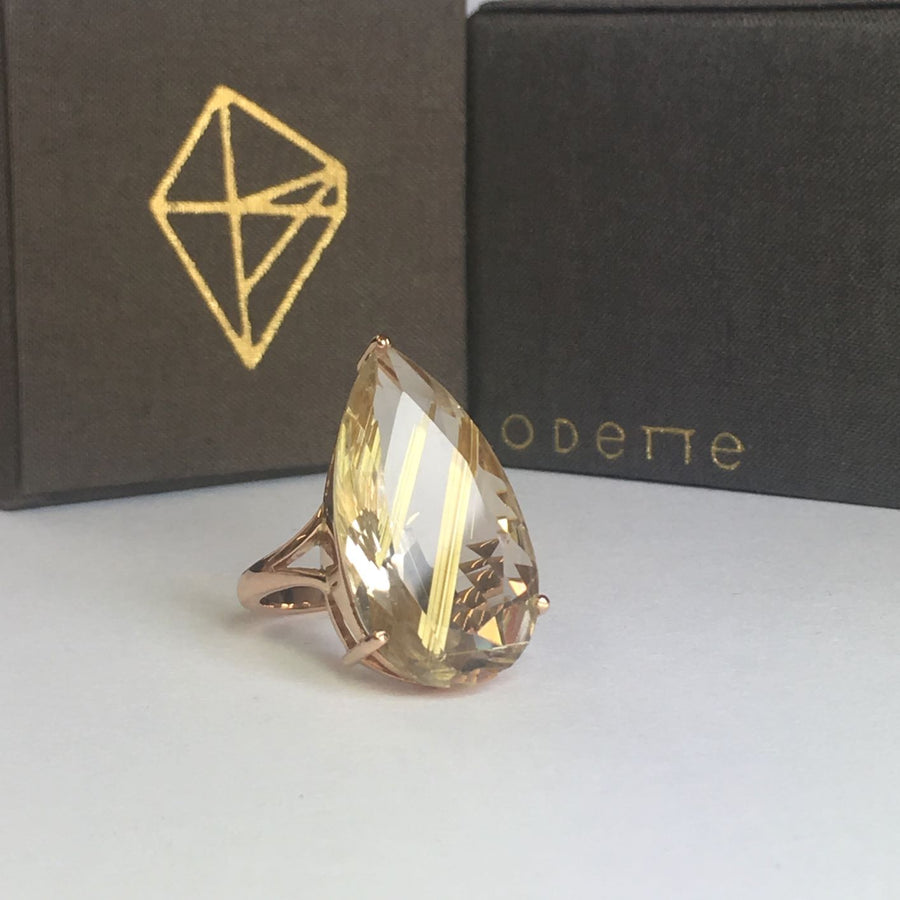 Gold & Golden Rutile Queen Cocktail Ring
