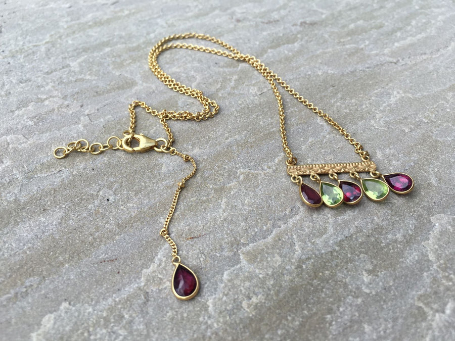 Gold Peridot Necklace Rosie Odette Jewellery