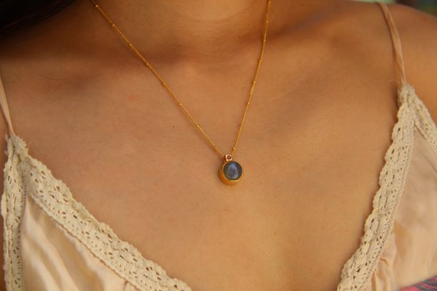 Silver & Gold Labradorite and Burmese Ruby Pendant Necklace Rosie Odette Jewellery