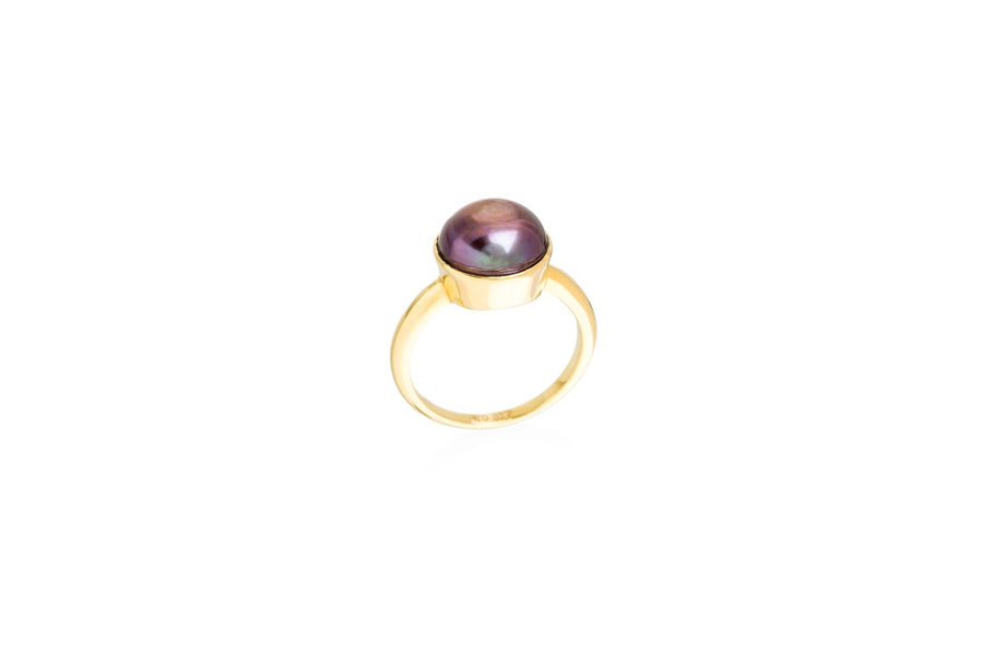 Silver & Gold Vermeil Black Princess Pearl Ring