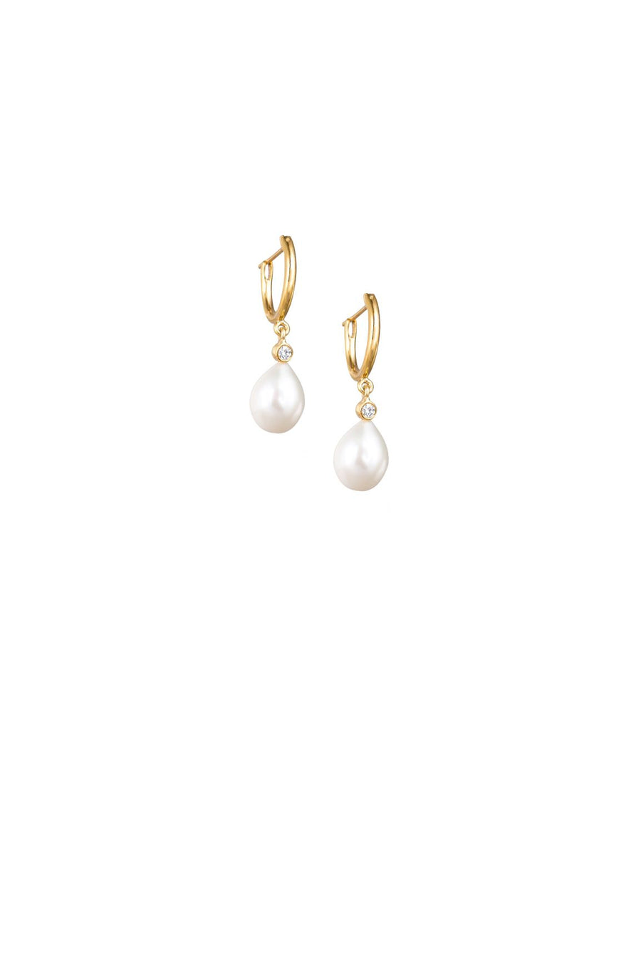 Pearl & White Sapphire Drop Earrings