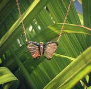 Limited Edition Bi-Colour Tourmaline Butterfly Gold Pendant Necklace Rosie Odette Jewellery