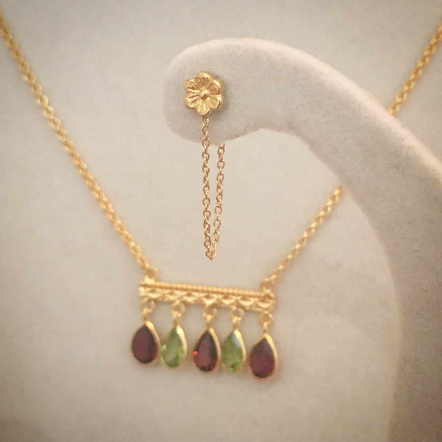 Silver & Gold Jaipur Princess Necklace With Garnet And Peridot Necklace Rosie Odette Jewellery