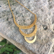 Silver & Gold Warrior Triple Crescent Moon Necklace Necklace Rosie Odette Jewellery