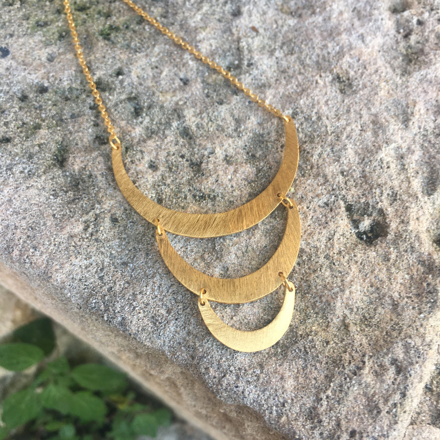 Silver & Gold Warrior Triple Crescent Moon Necklace