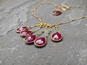 Six Drop Ruby Choker Necklace Necklace Rosie Odette Jewellery
