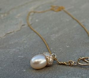 Silver & Gold Pearl Acorn Necklace