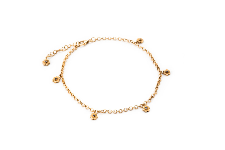 Blue Sapphire Flower Anklet Chain