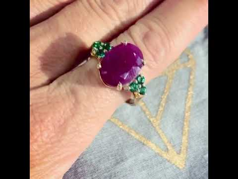 The Odette Gold Ruby & Emerald Cocktail Ring