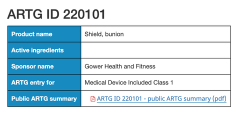 bunion-sleeve-au-tga-registration-certificate.png